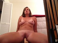 Horny blonde plays with her dildo