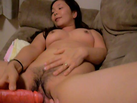 Horny Asian Babe Enjoys Fucking Herself With Big Dildo